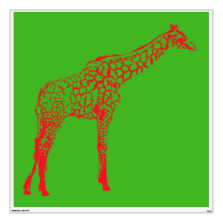 Red Giraffe Stencil Wall Decal