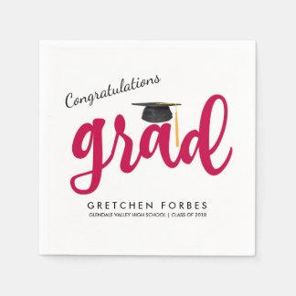 Red Girl Congrats Grad Class of 2018 Graduation Disposable Napkins
