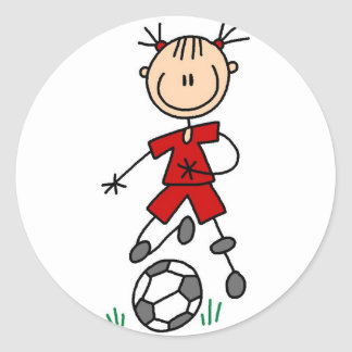 Red Girls Soccer Sticker