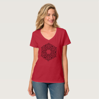 RED girls t-shirt with mandala