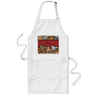 Red Girly animal print hearts with a name Aprons