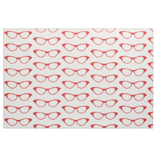 Red Girly Geek Glasses Fabric