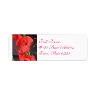 Red Gladiola Flowers Return Address Label