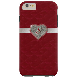Red Glam Heart Monogram iPhone 6 Plus case