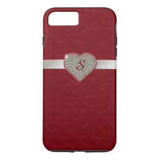Red Glam Heart Monogram iPhone 7 Plus case