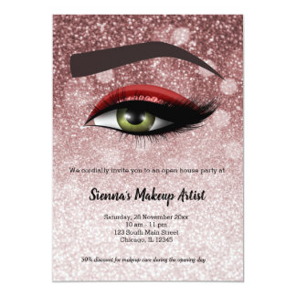 Red glam lashes eyes | makeup artist card