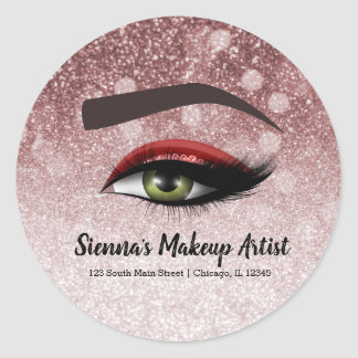 Red glam lashes eyes | makeup artist classic round sticker