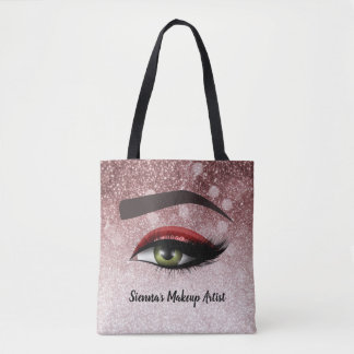 Red glam lashes eyes | makeup artist tote bag