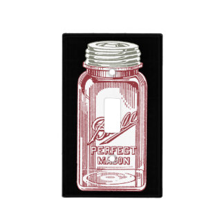 Red Glass Ball Jar Light Switch Cover