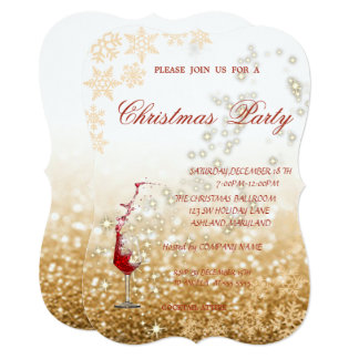 Red Glass Glittery,Corporate Christmas Party Card