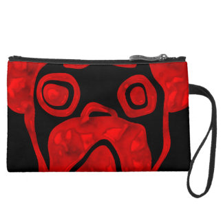 Red Glassy Pug Suede Wristlet