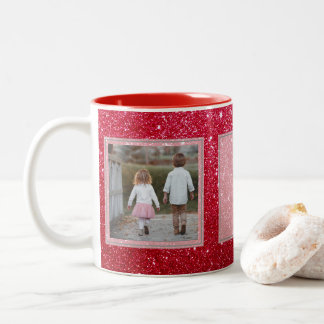 Red Glitter 2 Pictures w/Text Design Your Own Two-Tone Coffee Mug