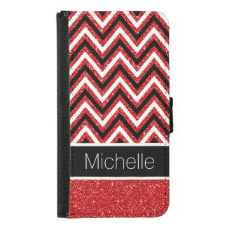 Red Glitter B&W Chevron Galaxy S5 Wallet Case