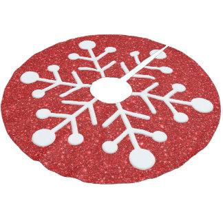 Red glitter background christmas tree skirt