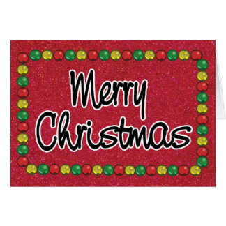 Red Glitter Bead Christmas Card