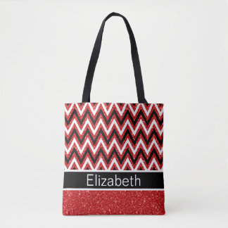 Red Glitter Black White Chevron Pattern Tote Bag