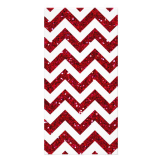 Red Glitter Chevron Pattern Photo Card Template