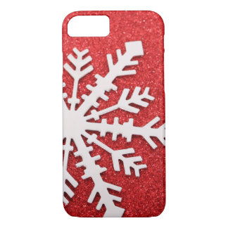 Red Glitter Christmas Sparkles Snowflake iPhone 8/7 Case