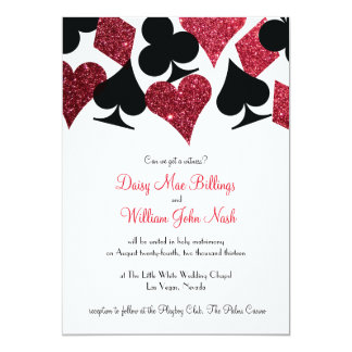 Red Glitter Destiny Las Vegas Wedding Invitation