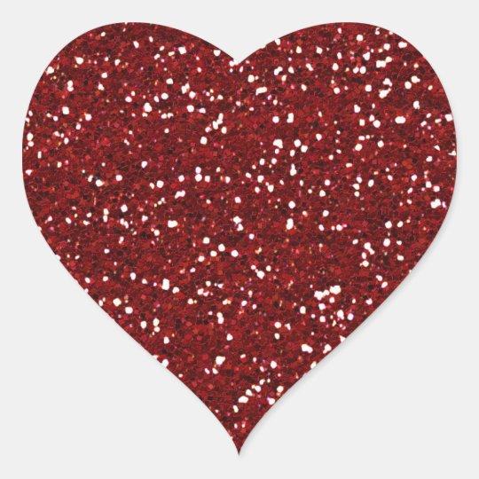 Red Glitter (Faux) Heart Sticker