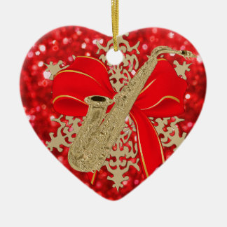 Red Glitter Gold Saxophone Music Holiday Ornament