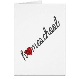Red Glitter Heart Homeschool Greeting Card