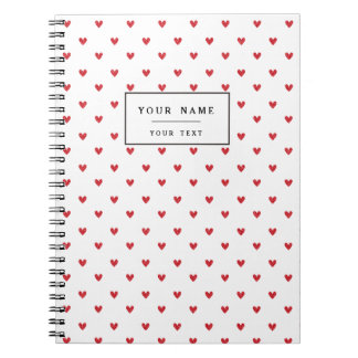 Red Glitter Hearts Pattern Spiral Note Books