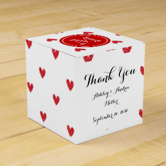 Red Glitter Hearts with Monogram Favor Box