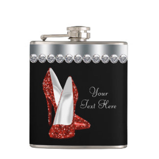Red Glitter High Heel Shoes Flask