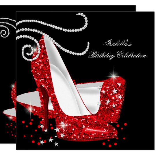 7c662ed7c75 Red Glitter High Heels Black Birthday Party Card