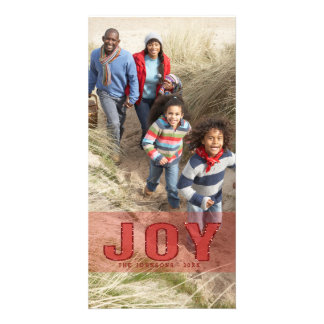 Red Glitter Joy Photo Holiday Greeting Card Personalized Photo Card