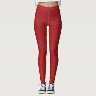 Red Glitter Leggings