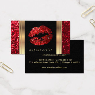 Red Glitter Lips and Elegant Gold Business Card