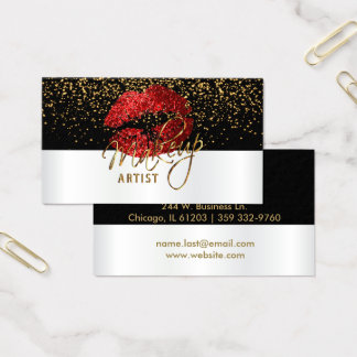 Red Glitter Lips On White and Black Business Card