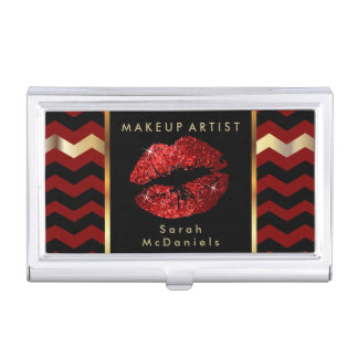 Red Glitter Lips with Chevron Stripes Business Card Holder