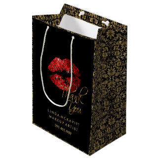 Red Glitter Lipstick and Floral Damask - Thank You Medium Gift Bag
