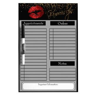 Red Glitter Lipstick Dry Erase Board