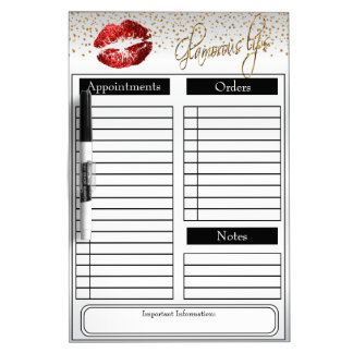 Red Glitter Lipstick on White Dry Erase Board