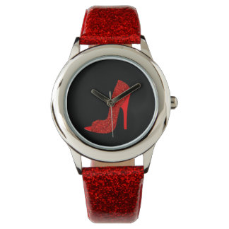 Red glitter look glam high heel shoe watch