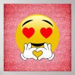 Red Glitter Love Heart Emoji Poster