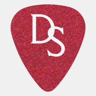 Red Glitter Monogram Guitar Pick