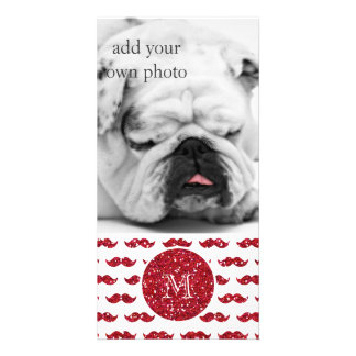 Red Glitter Mustache Pattern Your Monogram Photo Cards