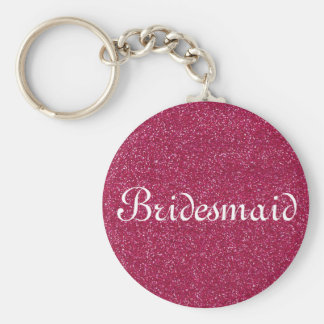Red Glitter Personalized Bridesmaid Basic Round Button Keychain