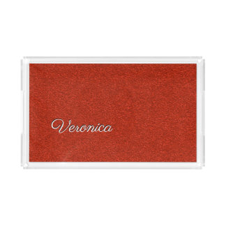 Red Glitter Personalized Vanity Tray