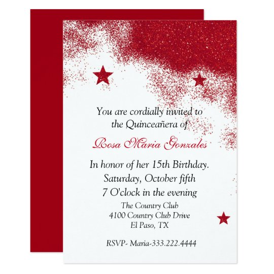 Red Glitter Quinceañera Invitation