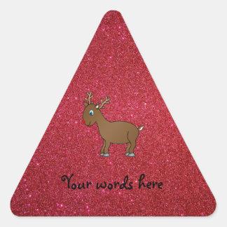 Red glitter reindeer sticker