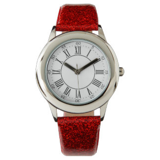 Red Glitter Roman Numeral Watch