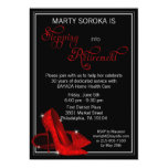 """Red Glitter Shoes Retirement Party 5"""" X 7"""" Invitation Card"""
