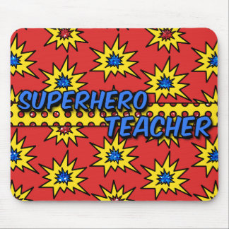 Red Glitter Superhero Teacher Mousepad