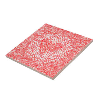 Red Glitter & Valentines Heart Composition Tile